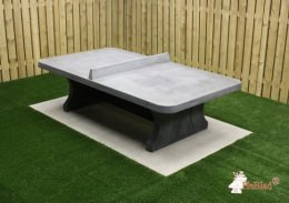 Table de ping-pong béton anthracite, angles arrondis
